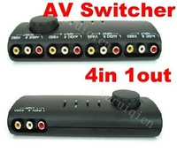 4 Way Audio Video AV RCA Switch Switcher Splitter+Cable