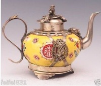 Chinese Old Porcelain Armored Dragon Tea Pot Monkey Lid free shipping