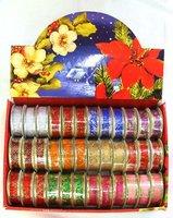 Free shipping 36pcs/box Wholesale 2.7m  2.5cm width Foil Printing Glittering Christmas Ribbon Christmas decoration X'mas Crafts