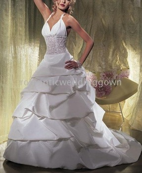 2009 sexy Style white Ball Gown neckline court train Sleeveless Satin Wedding Dresses f