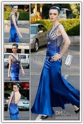 The new 2010 line of pasta beads blue satin V Neck dress / evening dress / bridesmaid dress(China (Mainland))