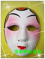 Chinese White Opera Mask Paper Mache Good Full Face 10pcs/lot  Free shipping