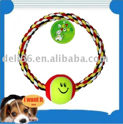 Dog Plaything Pet Toy Dog Molar Rope Decorated Tennis Ball Dog Company Lovely Hot Selling(China (Mainland))