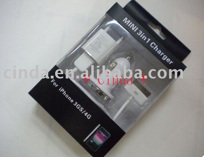 Free shipping 3 in 1 Mini Car Charger USB Synchronization Cable Home USB AC Charger Adapter for iPod iPhone 3G 3GS 4G(China (Mainland))