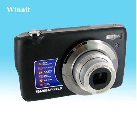"Wholesale Winait's DC800OE 15 MP MAX/2.7 ""TFT LCD digital camera with 5X optical zoom Free Shipping(China (Mainland))"