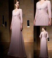 Fashional long sleeve v-neck style chiffon evening dress E114