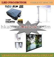 """Three in one  Home theater LED  projector TV+ 100"""" 16:9 motorized screen+ ceilint mount"""