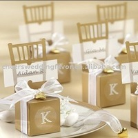 wedding favor--Monogram Gold Chair Favor Box used as candy packing in wedding party