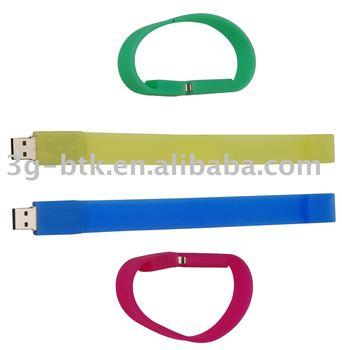 100pcs/lot 4GB silicon bracelet/bangle USB flash pen drive, different colors available, logo print