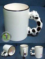 JETYOUNG Animal -DOG handle-Coated Mug for Sublimation Ink or Heat Transfer-photo mug, special gift, personlized mug, 36/pack