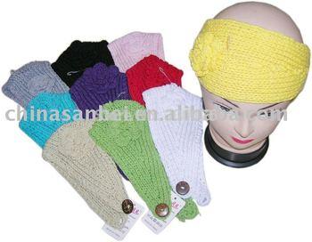 Handmade Knit Headwrap crochet flower Headband 100%cotton
