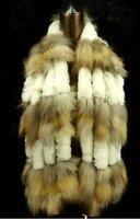 Wholesale-free shipping -Promotion fashion fox fur scarf,women knit scarf-fox fur