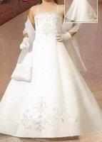Wedding White Kid Sleeveless Birthday Beautiful Angel Bridal Party Flower Girl dresses FL-1411