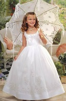 Wholesale 2011 Hot Sale Beautiful White Knee Length Tulle Flower Girl Dress  FL-1420
