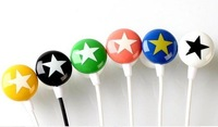 100pcs/lot,Mix-Style Star In-Ear Headphones For Mp3 Mp4 Mp5 Earphone&Free Shipping
