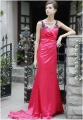 A-Line Spaghetti Strap Floor-length Satin Evening Dress