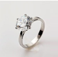 Fast EMS Free shipping !Fashion jewelry,rhodium ring with CZ stone ,100pcs/lot