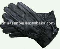 Lady genuine leather glove sheep skin black side button