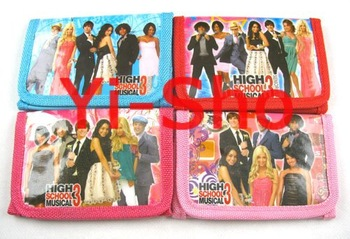 NEW hot sell !! 120pcs High School musical 3 girl's Children Tri-fold Fashion wallet purses with zip / XMAS gifts /party favor