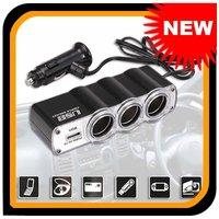 Free Shipping 12V 3 Socket Universal USB In-Car  USB Port Adapter  Car Cigarette Lighter Charger
