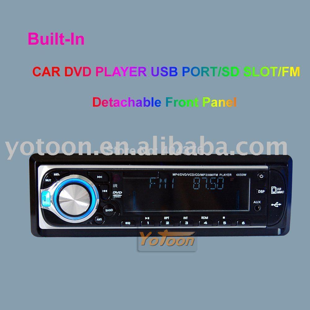 CAR 1 DIN DVD Detachable Front Panel CAR DVD/CD/MP3/USB/SD CARD AM/FM PLAYER+AUX INPUT / CAR 1 DIN DVD CAR / SHENZHEN YOTOON(China (Mainland))