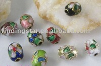 FREE SHIPPING 600PCS Mixed colour cloisonne enamel floral oval bead M489