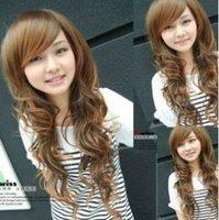 de temps les femmes vague de cheveux bruns perruque/wig Free shipping 011