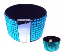 Wholesale!!Ten lines Magnetic bracelet ,Blue ziccon  magnet  bangle with  plastic stone,50pcs/lot