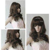 de temps les femmes vague de cheveux bruns perruque/wig Free shipping 001