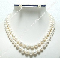 "Free shipping wholesale double strands 16""-18"" 5-10mm white freshwater pearl necklace set"