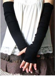 Black Korea womens fingerless Long Gloves Arm Warmers Whosale/retail(China (Mainland))