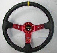 Free Shipping!  14 inches carbon strip leather Sport Steering Wheel for Modified Car-Car Styling
