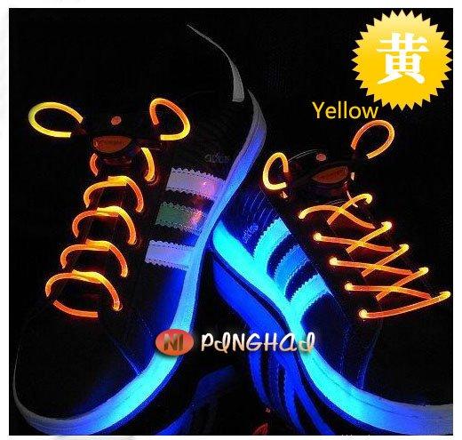 LED LIGHT UP SHOELACES LED flashing shoelace DISCO FLASH LITE GLOW STICK NEON/ Novelty Item Great Gift FREESHIPPING(China (Mainland))