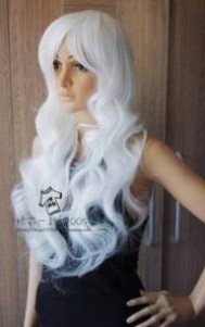 New Long White Cosplay Party Wavy Wigs Free shipping(China (Mainland))