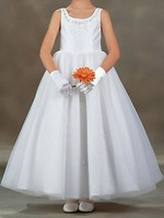 A-line Sleeveless Ankle-Length Satin Flower girls Dress