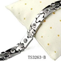 (min order 10$)g Fashion Jewelry Healing Magnetic Bracelet Titanium steel inlay bangle health care function TS3263-B