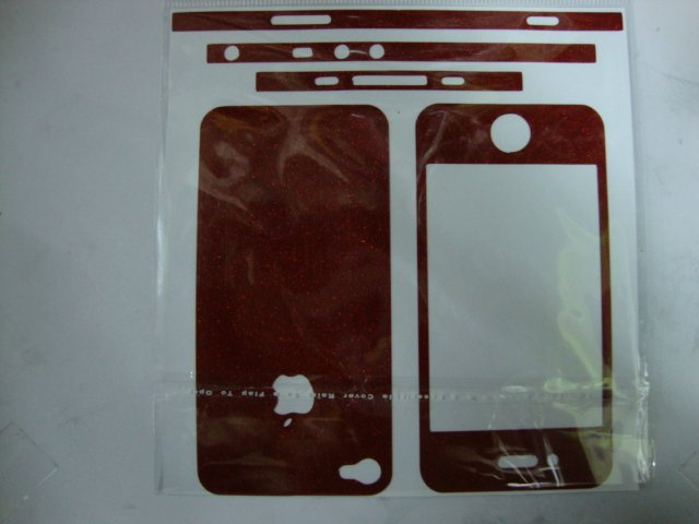 Dark red Carbon Fiber Skin Full Body Sticker for iPhone 4G(China (Mainland))