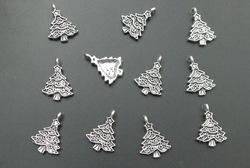 Free shipping & Loverly Tibetan Silver Christmas Tree Charms Pendants 50pcs/bag(China (Mainland))