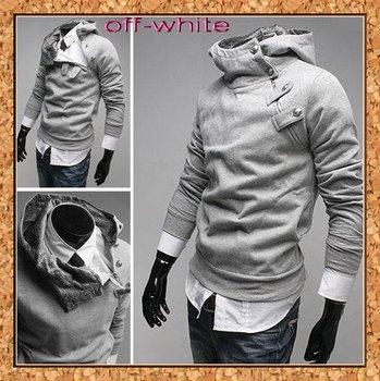 2010 new free shipping Artificial rabbit hair neck Men's Hoodies Sweatshirts cardigan fleeces long sleeve coat jacket 1pcs