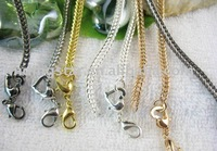 FREE SHIPPING 50PCS Mix Colors Heart Clasp Necklace chain necklaces 55CM M4987