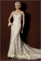 Free shipping Sweet slit neckline winter princess bride wedding dress formal dress 2013 #2626  color free HY-15914