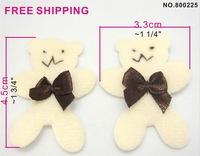 200pcs padded Furry/Velvet Applique trims/Hair bow smile bear with brown ribbon bow, free shipping wholesale
