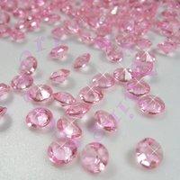 Free shipping PINK (1000pcs 6.5mm 1Carat) Acrylic Crystal Diamond Confetti Wedding Table Vase Decoration