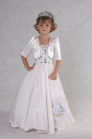 Free Shipping Best Selling New Design Custom-made Beaded Ruffled Taffeta Flower Girl Dress  FL-1437