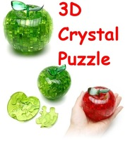 Apple 3D Crystal Puzzle with color box Christmas gift can mix order 50pcs/lot