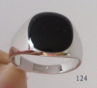 Men's Ring .Black Onyx  18k GP White Gold Ring. Free Shipping .Can Mix