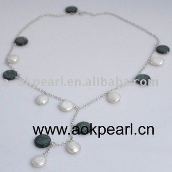 AN134 Fashion AAA coin pearl & silver jewelry chain