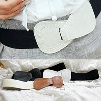 Special off-color! Heart-shaped simulated leather wide belt of elastic girdle belt buckle
