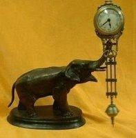 Beautiful pendulum clock bronze elephant statue free shipping