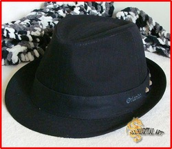 Free Shipping New Style Jazz Hat Pork Pie Hat Unisex Black Free Size 7 1/8 (56cm) - 7 1/4 (58 cm) (Hj001) !!(China (Mainland))